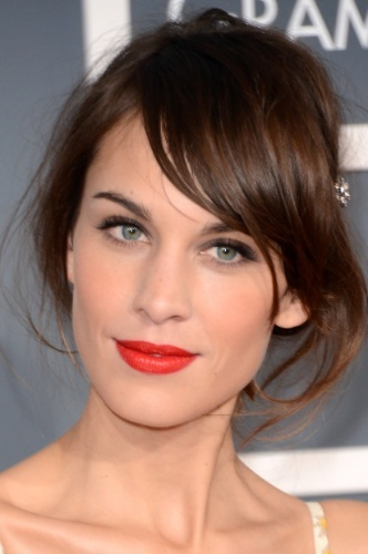 Alexa Chung, red/orange lips and cheeks
