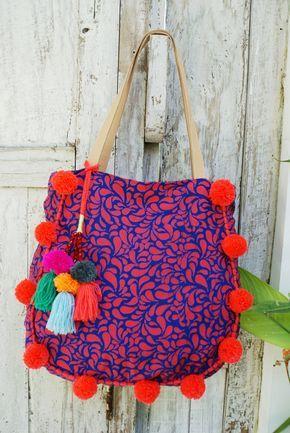 Bolsas pompones o borlas playa bolso/pompón beacg por JavaSpirit