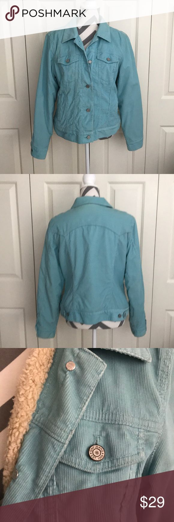 Gap jacket Gap jacket with corduroy outer and warm fuzzy inside lining. Two pockets and 2 upper buttoned pockets. 5 button front and 4 buttons on lower back to adjust. Gently worn from non smoking home. GAP Jackets & Coats Jean Jackets