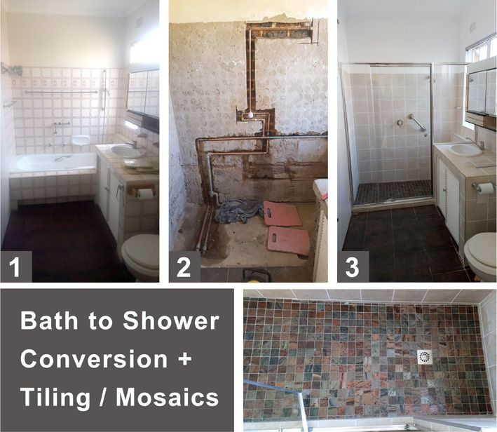 Bath to Shower Conversion in retirement village unit. Incl. Tiling, Natural stone mosaicing & custom glass door/partition.