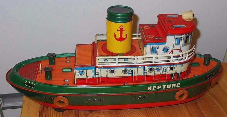 "Vintage Tin Toy Neptune Tug Boat Modern Toys Japan 15"" Unused #ModernToysJapan"