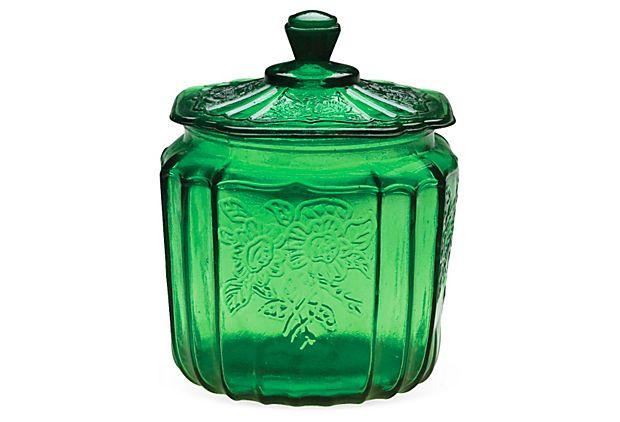 "7"" Glass Cookie Jar, Green"