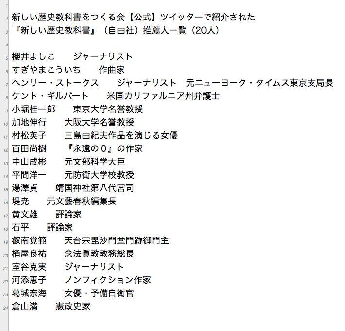 新しい歴史教科書をつくる会【公式】ツイッターで紹介された『新しい歴史教科書』(自由社)推薦人一覧(20人)。特定の歴史認識本と特定の周辺国認識本の筆者が何人も名を連ねているが、仏教界の人も2人いる。念法眞教の燈主は日本会議の代表委員。