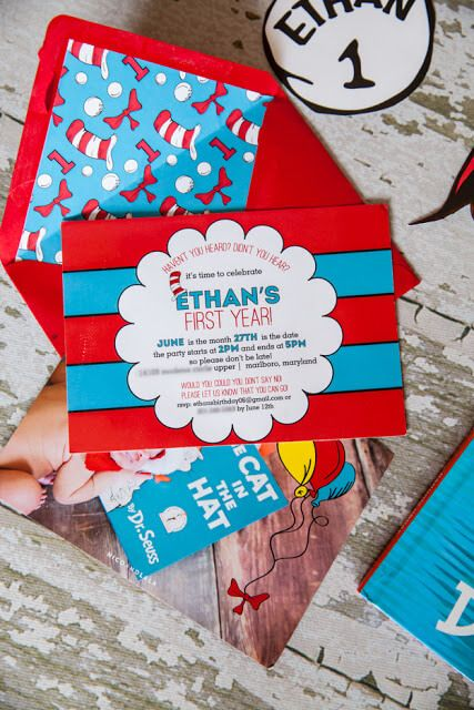 Dr. Seuss First Birthday Invitations