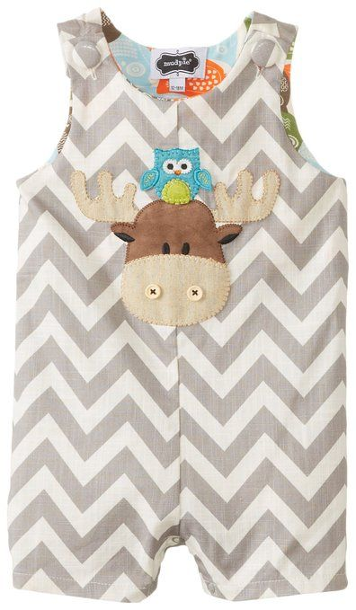 Mud Pie Baby-Boys Infant Moose Shortall, Brown, 12-18 Months