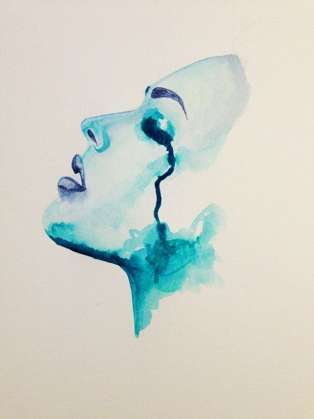 chaotic resolve by ArtByNicoleG on Etsy abstract, face, crying, tears, emotion, blue watercolor, painting