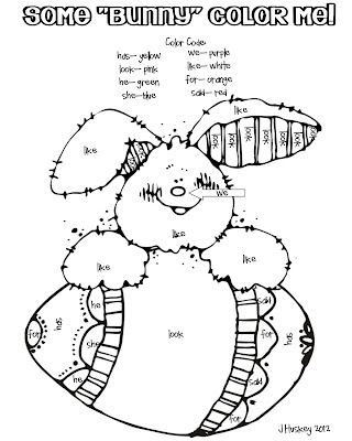free color by number bunny easter pinterest colors sight words and words. Black Bedroom Furniture Sets. Home Design Ideas