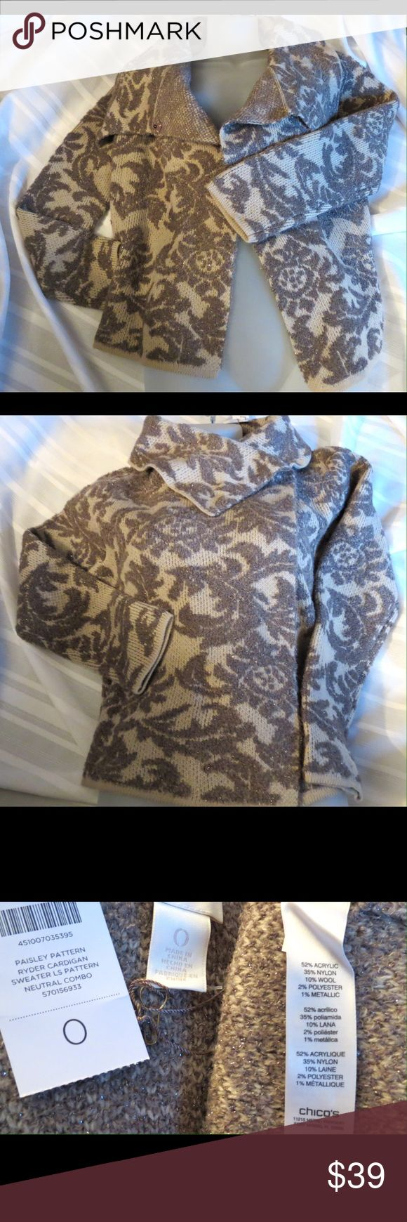 "NWT Stunning  Unique Chico's Sweater Jacket Size 0 NWT Stunning  Unique Chico's Sweater Jacket Size 0  This is a Chico's size 0 which is regular size  Small or 4  This is a subtle paisley Pattern Ryder Cardigan in neutral shades, absolutely gorgeous! Approx measurements  Sleeves  24"" Chest  38""  Length 23""  All of my items are Guaranteed 100% Genuine I do not sell FAKES of any kind   No Trades (J3032) Chico's Jackets & Coats"
