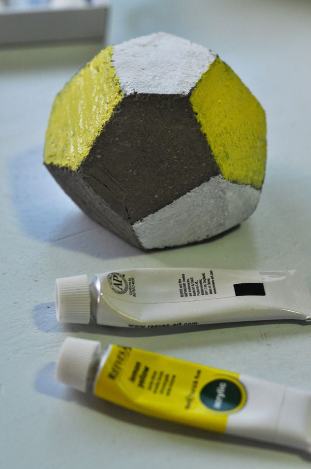 DIY cement paper weight, yellow and white