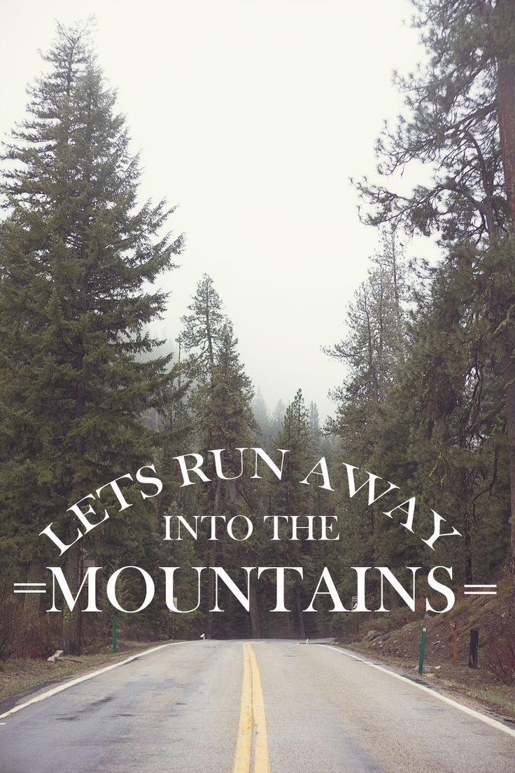 Let's run away to the mountains. That's where I'll be come find me.