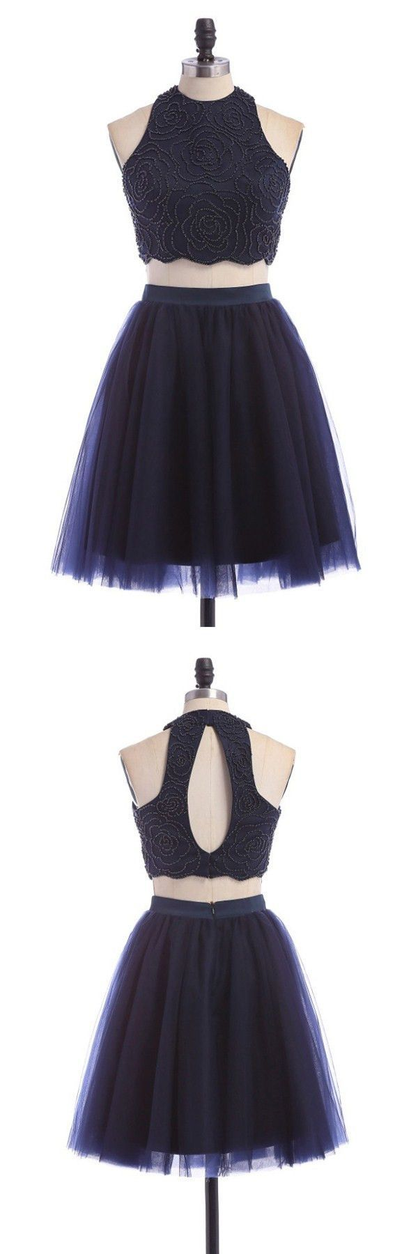 two piece homecoming dresses, 2 piece homecoming dresses, scoop homecomging dresses, open back homecoming dresses, beaded homecoming dresses, navy blue dresses, navy homecoming dresses, short homecoming dresses