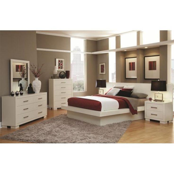 coaster furniture jessica 5 piece queen platform bedroom set in white