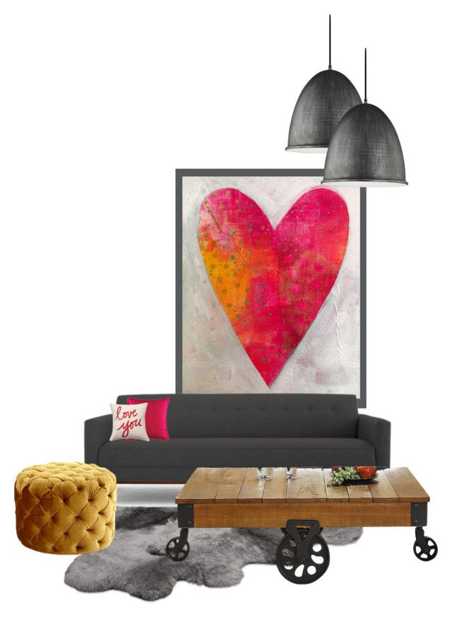 """heart #2"" by katrisha-art ❤ liked on Polyvore featuring interior, interiors, interior design, home, home decor, interior decorating, Sea Gull Lighting, UGG Australia, Joybird and Homelegance"