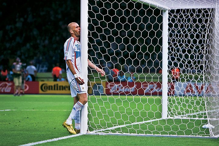 Zinedine Zidane, World Cup final, Berlin, 2006  Zinedine Zidane in the World Cup final, walking headfirst into a goalpost just before walking headfirst into Marco Materazzi and getting sent off; → Tom Jenkins for the Guardian