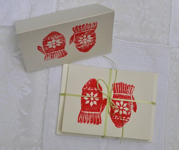 Red Mittens Block Print Christmas Cards