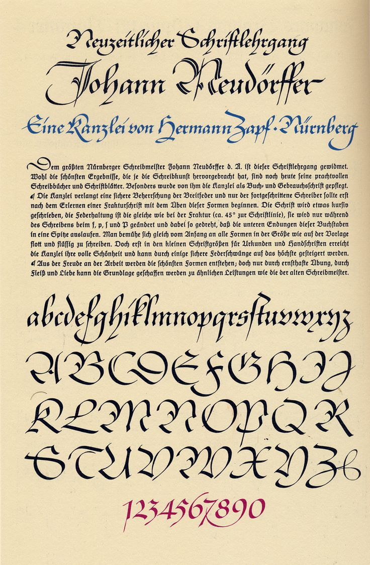 Kanzlei alphabet by Hermann Zapf (1940) for Die zeitgemässe Schrift. From ABC–XYZapf (1989), p. 219.