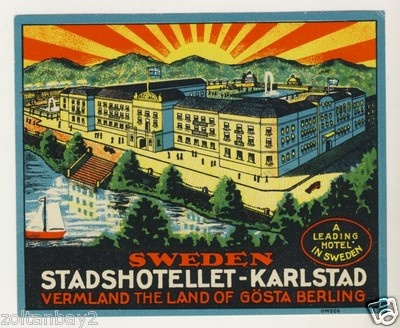 Old Luggage Label Etichetta Kofferaufkleber Stadshotellet Karlstad Sweden | eBay