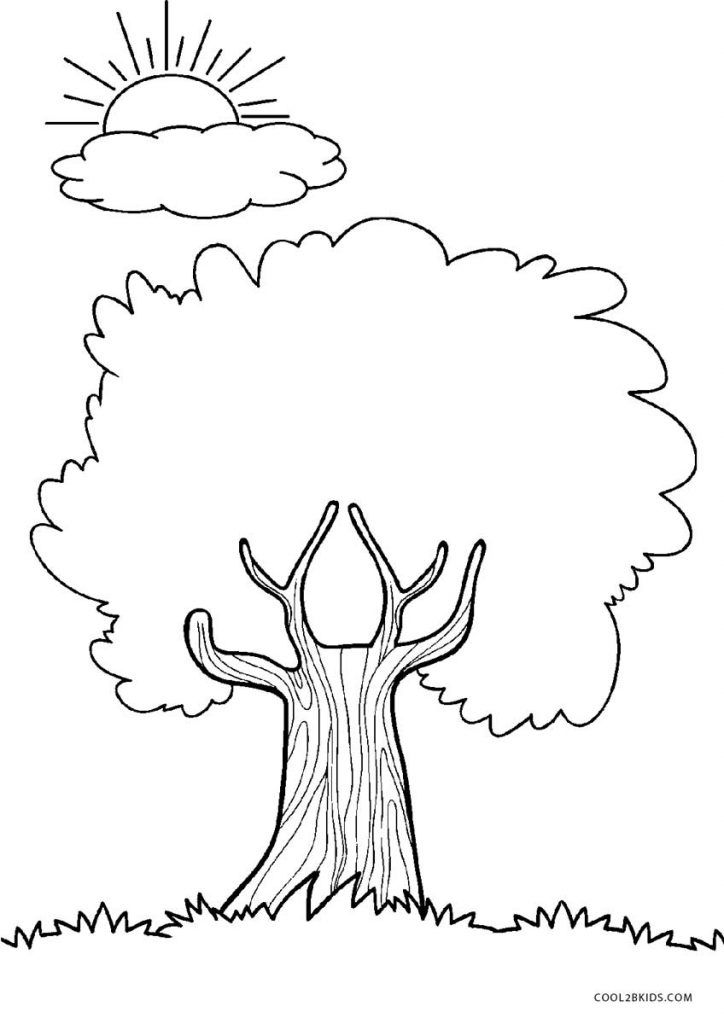 Tree Coloring Pages Tree Coloring Page Sunflower Coloring Pages