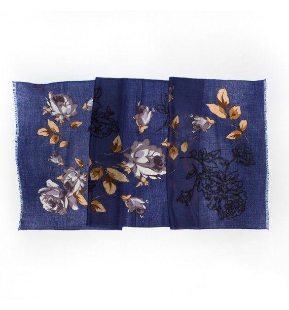 Esarfa birou, albastru cu trandafiri , din lana si cashmir, Tie-Me-Up