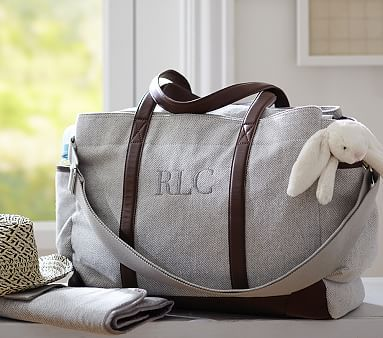 Grey Herringbone Classic Diaper Bag #pbkids