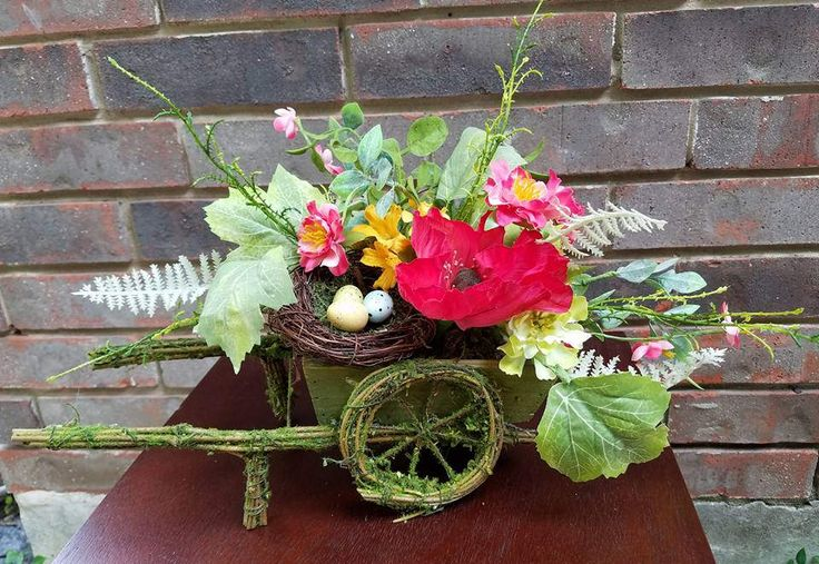 Moss Covered Wheelbarrow Centerpiece, Spring Centerpiece, Spring Decor, Wheelbarrow Centerpiece, Wheelbarrow Decor by SouthTXCreations on Etsy