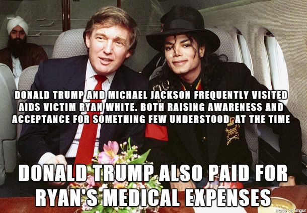 Michael Jackson is black and there's a rag head in the background, so that makes him a racist.. right ??