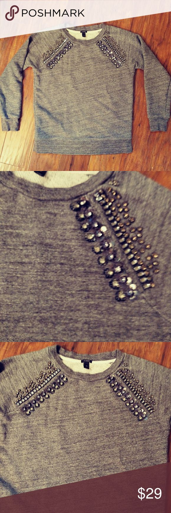 💠JCREW STONE STUDDED SWEATSHIRT 💠 Excellent condition, all studs are sewn on... reference I'm 5'6 135 lbs... Feel free to ask any questions J. Crew Tops Sweatshirts & Hoodies
