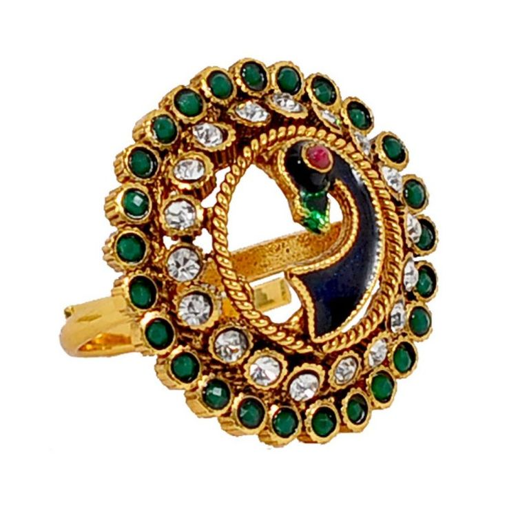 Maayra Pretty Blue Green Stone Work Adjustable Size Finger #Ring		 #onlineshopping http://goo.gl/kQo0RK