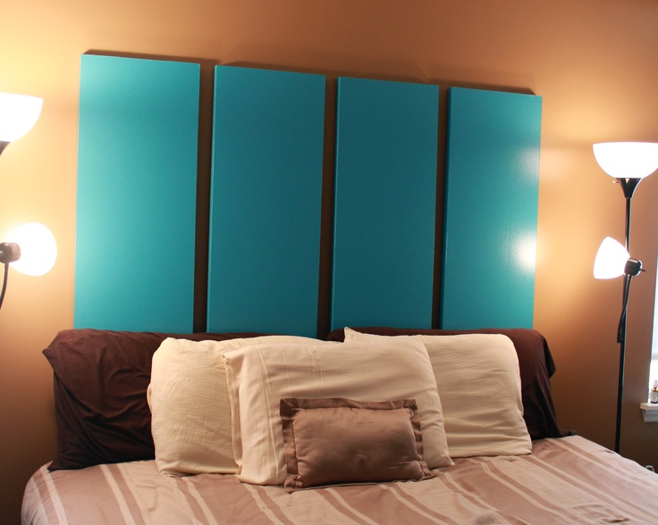 Bi-fold closet doors repurposed for a headboard.  No link, just picture
