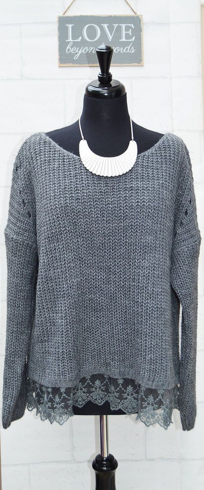 Mohair Blend Chunky Lace Hem Ladies Jumper in Grey  This superb Jumper is so super soft and is great for any occasion. This elegant mohair blend jumper is stunning and offers a most beautiful and comfortable look and can be worn as stylish day wear or chic evening wear. This top looks great with smart separates or paired with jeans.