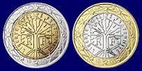2- und 1 Euro-Münzen: Die Münzen zeigen einen Baum, gezeichnet vom Maler Joaquim Jiminez, als Symbol für Leben