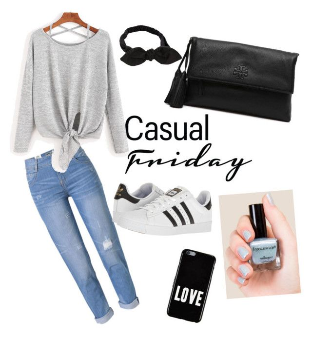 CASUAL LOOK by pitaa29 on Polyvore featuring polyvore fashion style WithChic adidas Tory Burch Givenchy Francesca's clothing casual monochrome