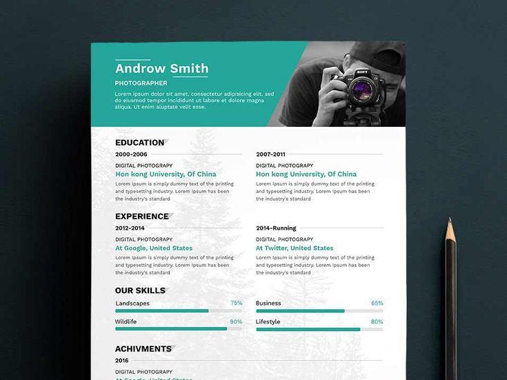minimalist resume template psd