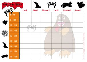 Contes pour enfants - Spécial école / rentrée scolaire - Emplois du temps à imprimer - Tibous, contes pour enfants au fil du temps, coloriages, dessins, jeux éducatifs, histoires et puzzles en ligne