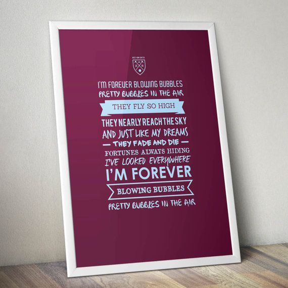 West Ham  Forever Blowing Bubbles Print by KieranCarrollDesign, €15.00