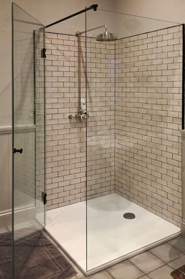 Bespoke Shower Enclosure With Black Hinges And Doorknob Made By Creative  Glass Studio