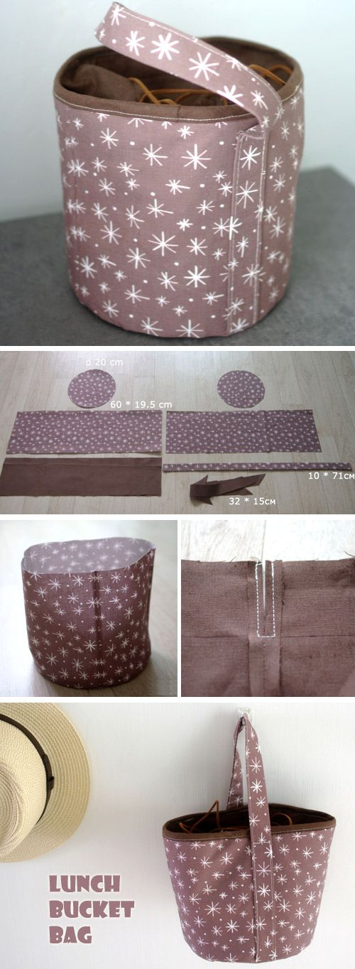 How to Sew Lunch Box Bucket Bag. Photo Tutorial DIY  http://www.free-tutorial.net/2016/12/drawstring-lunch-bucket-bag.html