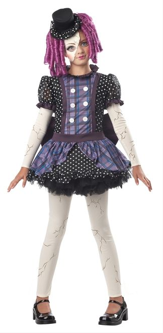 Girl's Broken Doll Costume - The Broken Doll costume comes in child PLUS sizes (Medium Plus and Large Plus), these sizes are a looser, fuller fit.  You'll have a cute, creepy Halloween this year with this Broken Doll Costume. This horror-themed goth outfit is just what you need for an outstanding look this year.  This four-piece costume includes a dress, hat, mask and leggings. #horror #brokendoll #yyc #calgary #costume