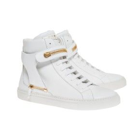 Herry white with white sole and white strap with maxi zipper gold