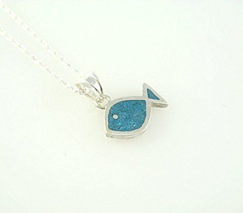 Women's Sterling Silver Tiny Blue Turquoise Ichthys Jesus Fish Necklace 16'' #Handmade