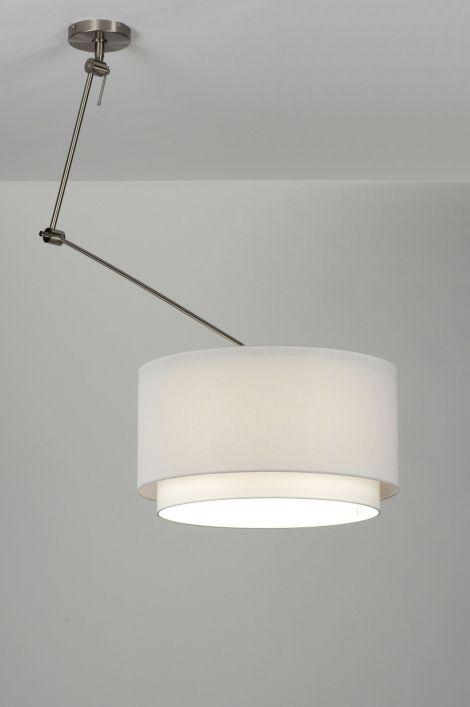 Artikel 30147 De trend van dit moment! Een extra lange en draaibare hanglamp in grote uitvoering!  Dit armatuur is verstelbaar op diverse manieren en heeft een dubbele kap welke afkomstig is uit een Nederlands atelier.  http://www.rietveldlicht.nl/artikel/hanglamp-30147-modern-staal_-_rvs-stof-wit-rond