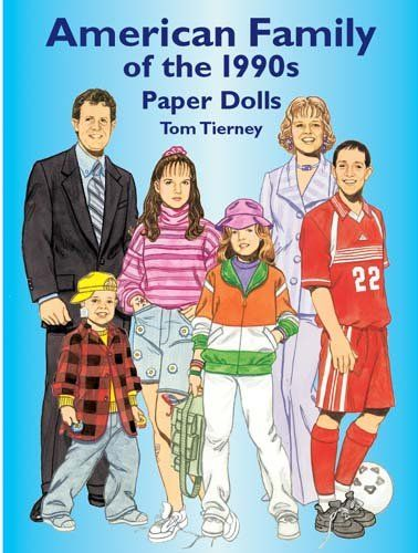American Family of the 1990s Paper Dolls (Dover Paper Dolls):   divA complete wardrobe for a family of eight. Outfits include industrial-styled Dr. Martens boots, flared slacks, a cartoon sweatshirt, a summer dress worn over matching cotton shorts, cut-off jeans, and a wedding dress. A great collection for paper doll fans of all ages and fashion enthusiasts of the 1990s. 8 dolls, 24 costumes. Notes.BR/div