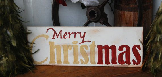 Merry Christmas Hand Painted Wood Sign - aged - in gold and red