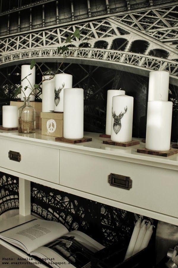 ljus gekås, renar, ren, svart och vitt, fototapet, avlastningsbord, sideboard, sidobord, vitt, många ljus tillsammans på bordet