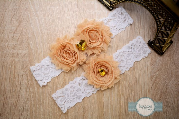 Lace Wedding Garter Handmade of White Lace, Cream Nude Flowers and Gold Rhinestones by BespokeGarters on Etsy