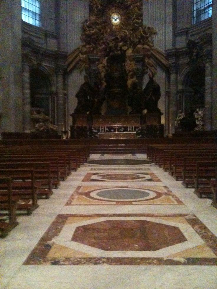 Inside the Basilica in Rome. Christmas tree skirt