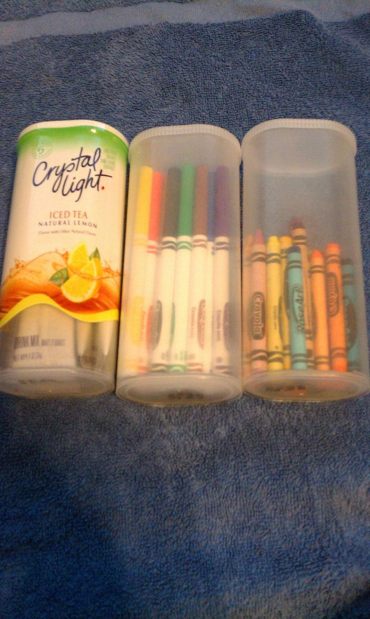 using crystal light containers for grab and go crayons, markers, and colored pencils! This will be great to put into center bucket and baskets {dead link}