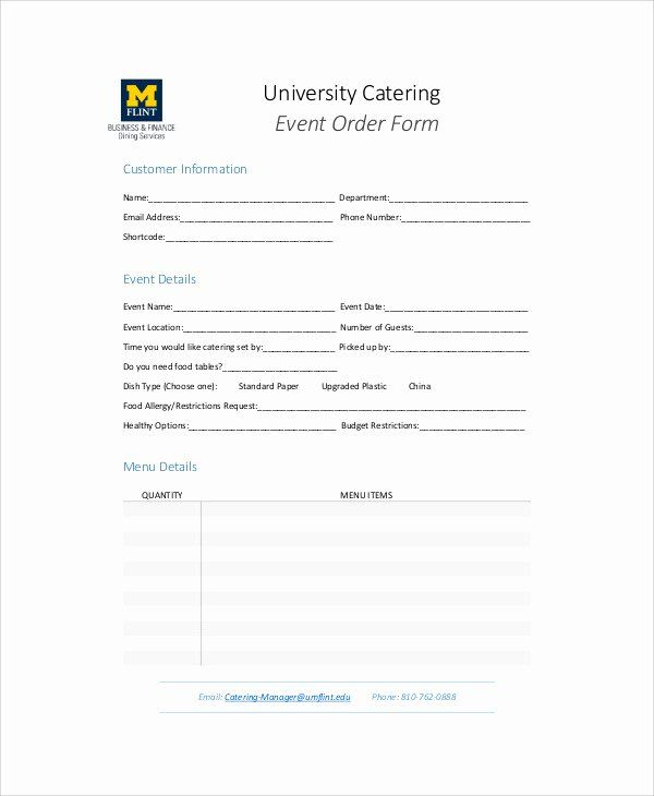 Catering Order Form Template Free Lovely Sample Catering Order Form 11 Examples In Word Pdf Order Form Template Order Form Template Free Template Free
