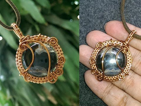 ocean waves pendant with large stones- How to make wire jewelery 251