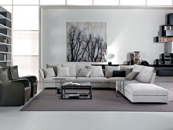 Living Room White Wall Puffy Sofa Pillow Black Wood Table Gray Carpet Armless Armchair Marble